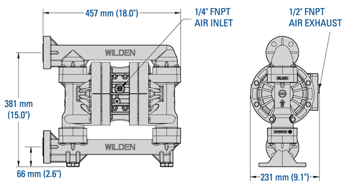 25 mm (1-) Pro-Flo Series Bolted Plastic Pump (P200) | Wilden