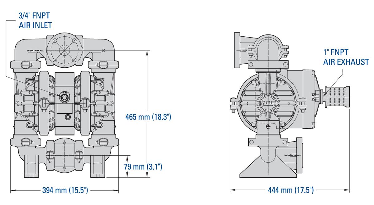 38 mm (1-1/2-) Pro-Flo SHIFT Series Clamped Plastic Pump